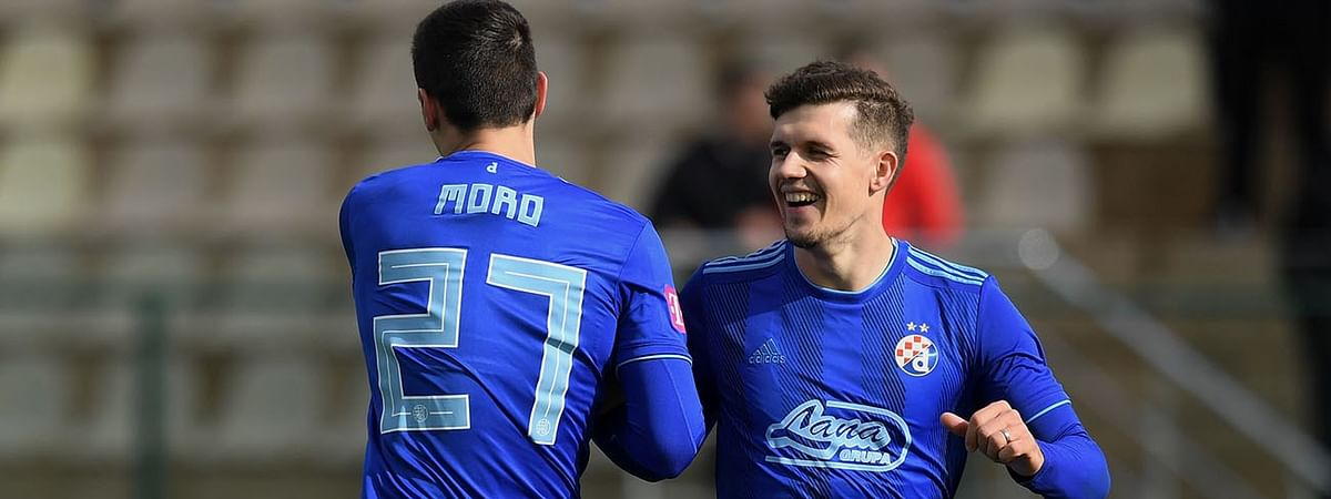 Nikola Moro from Dinamo Zagreb celebrates after scoring during a game in January, 2019.
