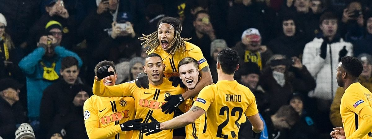 In this photo from Dec. 12, 2018, Young Boys' Guillaume Hoarau, center, celebrates with teammates after scoring the first goal of the game during the Champions League group H soccer match between Switzerland's BSC Young Boys Bern and Italy's Juventus Football Club Turin, at the Stade de Suisse in Bern, Switzerland.