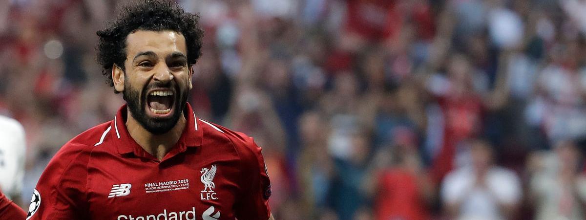 Liverpool's Mohamed Salah celebrates after scoring during the Champions League final against  Tottenham Hotspur on  June 1 (Felipe Dana)