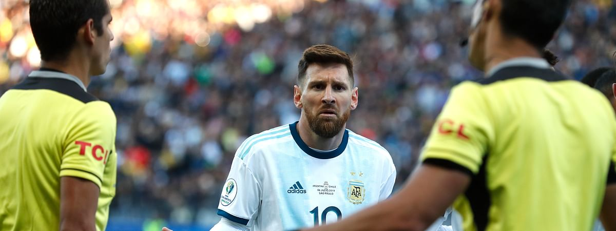 Argentina's Lionel Messi reacts after receiving a red card during Copa America third-place soccer match against Chile at the Arena Corinthians in Sao Paulo, Brazil, Saturday, July 6, 2019. (AP Photo/Victor R. Caivano)