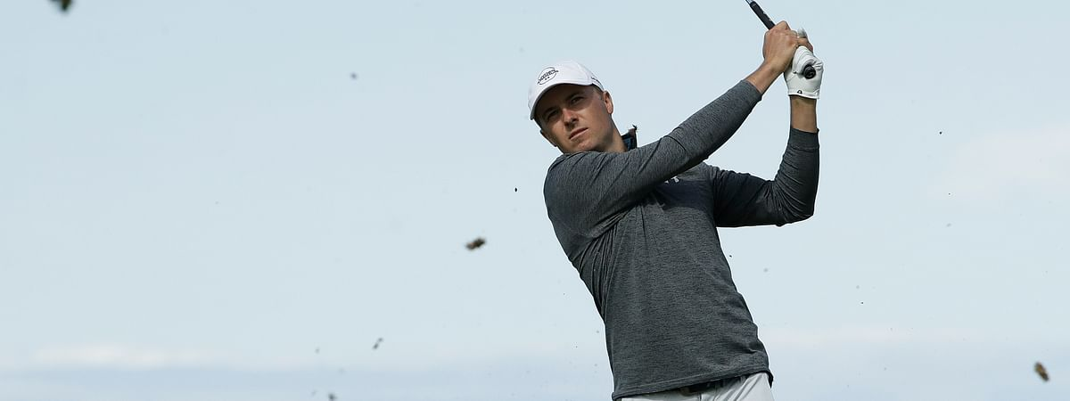 Jordan Spieth of the United States plays from the 6th tee during the third round of the British Open Golf Championships at Royal Portrush in Northern Ireland, Saturday, July 20, 2019.