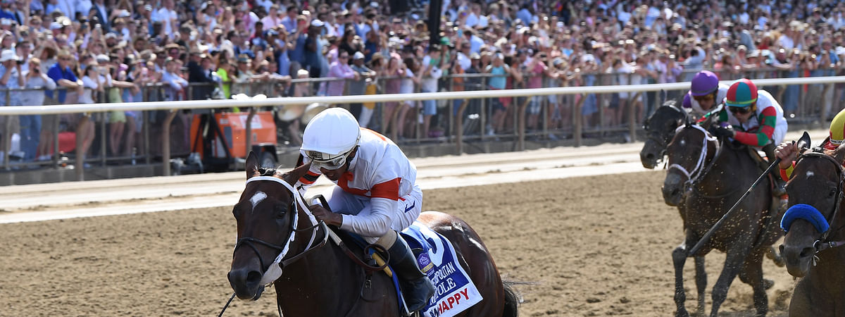 Mitole, winning The Metropolitan at Belmont in June. As usual, the other horses are behind him. He's in the Vanderbilt Handicap Saturday, July 27, 2019 at Saratoga.