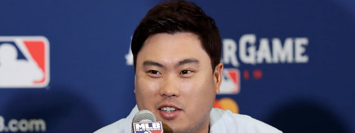 Dodgers' Hyun-Jin Ryu speaks during a news conference July 8 previewing July 9 All-Star Game in Cleveland (Tony Dejak)