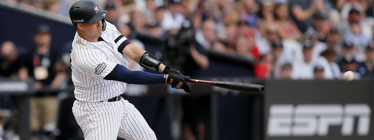 Yankees' Gary Sanchez strokes a two-run single against the Red Sox in London on June 30 (Tim Ireland)