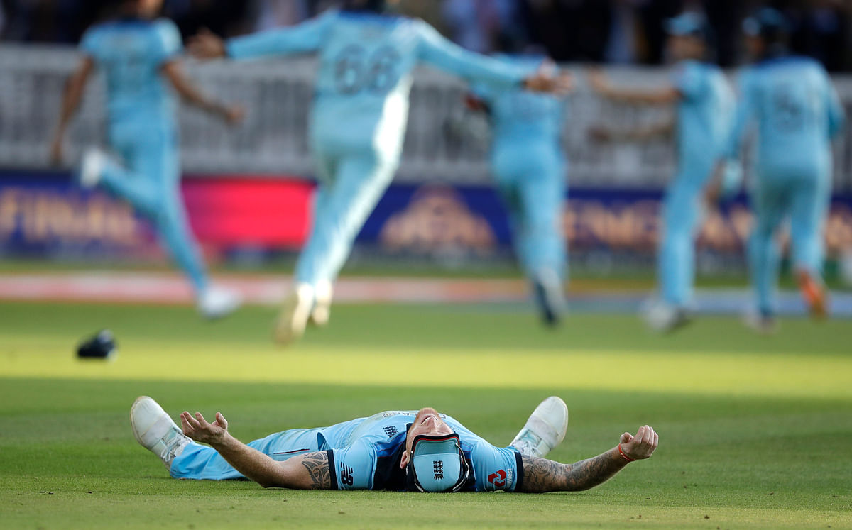 England's Ben Stokes celebrates after winning the Cricket World Cup final match between England and New Zealand at Lord's cricket ground in London, Sunday, July 14, 2019. England won after a super over after the scores ended tied after 50 overs each. (AP Photo/Matt Dunham)