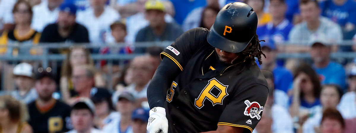 FILE - In this July 1, 2019, file photo, Pittsburgh Pirates' Josh Bell hits a three-run home run off Chicago Cubs starting pitcher Adbert Alzolay during the first inning of a baseball game in Pittsburgh. Will he hit another home run tonight? (AP Photo/Gene J. Puskar, File)