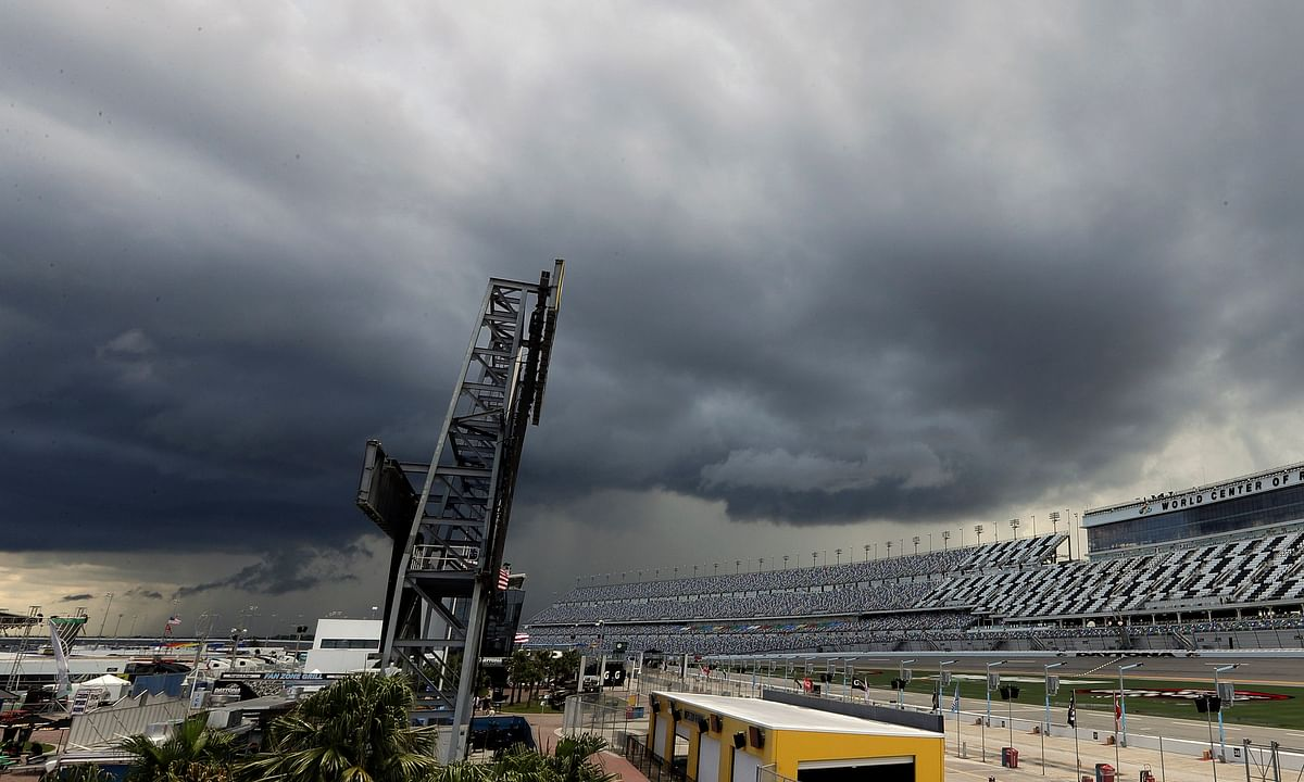 Storm clouds move in over Daytona International Speedway causing a delay of events before the NASCAR Xfinity race on  July 5 (John Raoux)