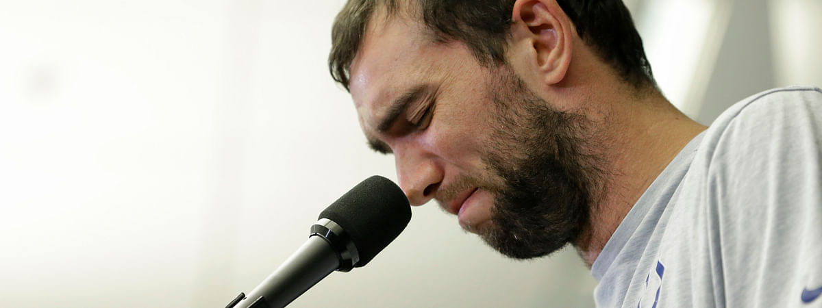 Indianapolis Colts quarterback Andrew Luck speaks during a news conference following the team's NFL preseason football game against the Chicago Bears, Saturday, Aug. 24, 2019, in Indianapolis. The oft-injured star is retiring at age 29.