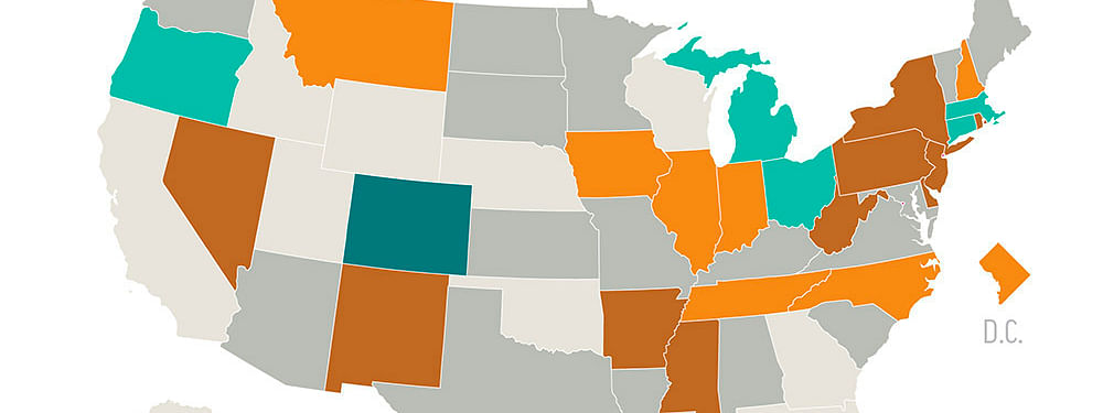 A map showing the state-by-state status of legalized sports betting. (AP graphic)