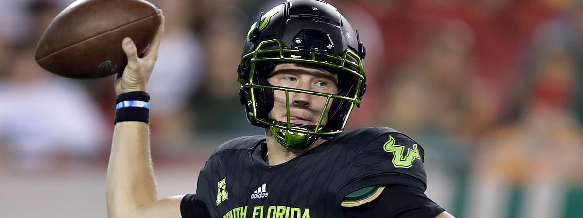 FILE - In this Oct. 20, 2018, file photo, South Florida quarterback Blake Barnett is shown during the second half of an NCAA college football game against Connecticut, in Tampa, Fla. No. 19 Wisconsin plays at South Florida on Friday, Aug. 31, 2019. (AP Photo/Chris O'Meara, File)