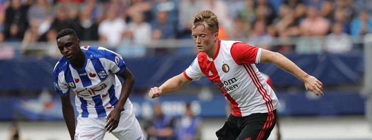 Feyenoord, in the red and white, plays Hapoel Beer Sheva in UEGA Europa League Playoffs First Leg.