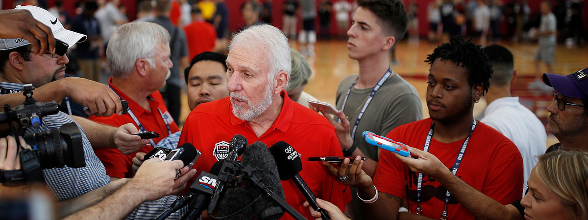 Head coach head coach Gregg Popovich speaks with the media during a training camp for USA Basketball, Thursday, July 26, 2018, in Las Vegas. (AP Photo/John Locher)