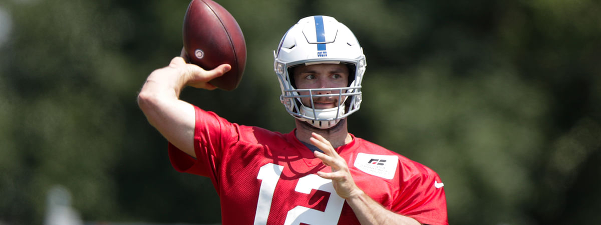 In this Thursday, July 25, 2019 file photo, Indianapolis Colts quarterback Andrew Luck (12) throws during practice at the NFL team's football training camp in Westfield, Indiana.