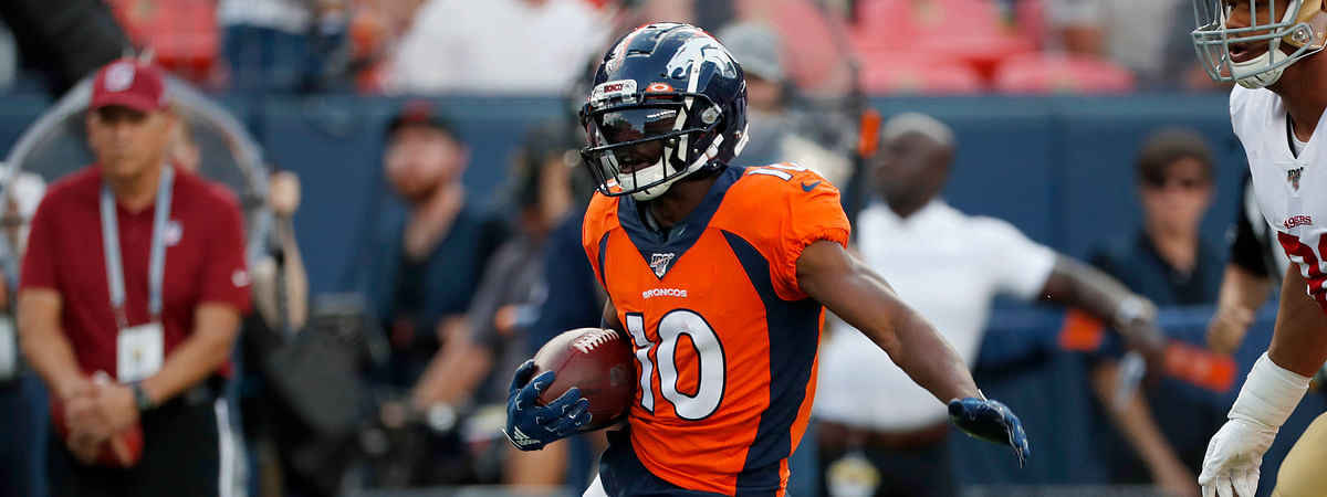In this Aug. 19, 2019, file photo, Denver Broncos wide receiver Emmanuel Sanders (10) runs after a catch against the San Francisco 49ers during an NFL preseason football game in Denver.