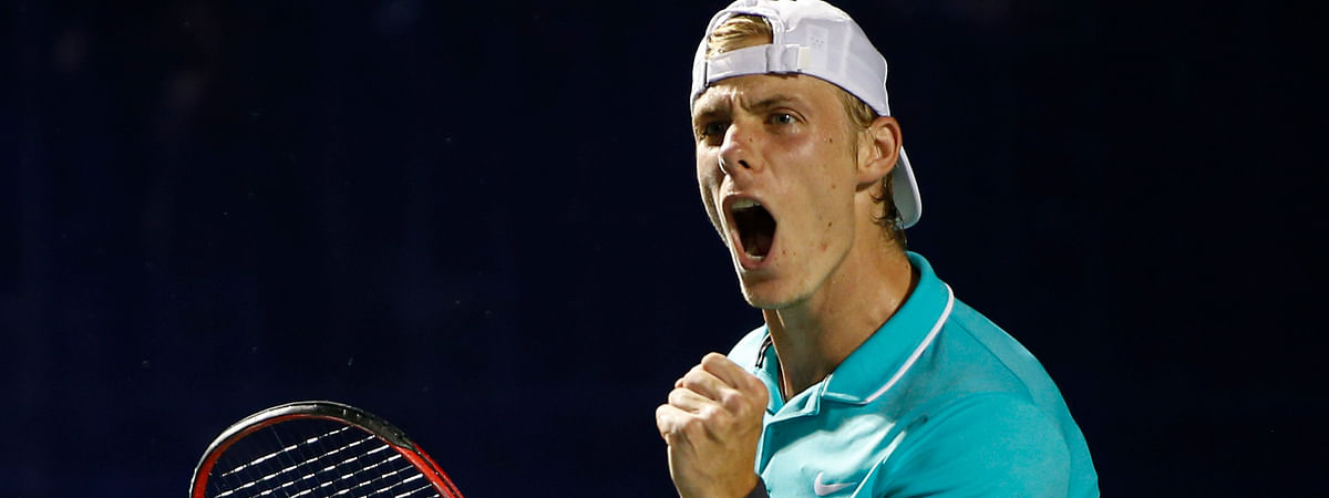 Denis Shapovalov, of Canada, reacts after winning a point in the second set against Hubert Hurkacz, of Poland, during the semifinals of the Winston-Salem Open tennis tournament in Winston-Salem, N.C., Friday, Aug. 23, 2019. Hurkacz won 6-3, 6-4. (AP Photo/Nell Redmond)