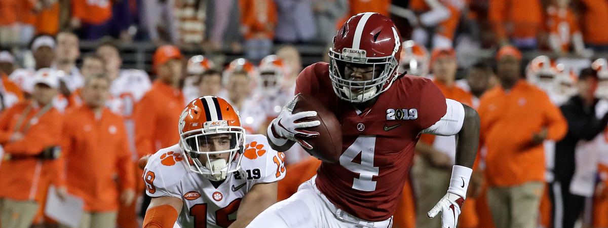 Alabama's Jerry Jeudy, who earned the Fred Biletnikoff Award as college football's most outstanding receiver last season, is among a couple of standout players seeking repeats in the race for college football's top individual awards this season. (AP Photo/Chris Carlson, File)