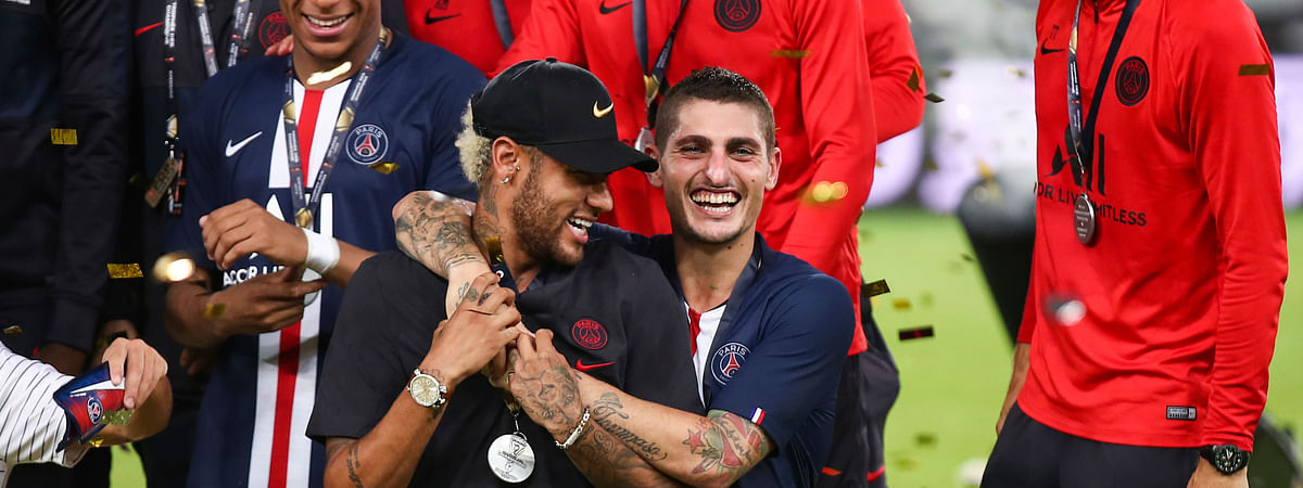 Paris Saint-Germain players Neymar, left at front, and Marco Verratti, right at front, celebrate after winning their match against Rennes in the Trophee des Champions in Shenzhen in southern China's Guangdong province on Aug. 3, 2019.