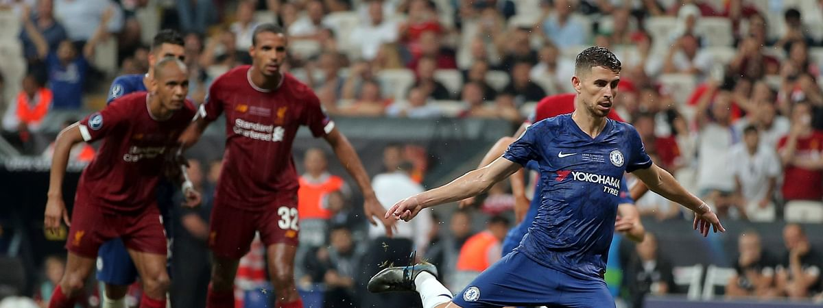Chelsea's Jorginho scores his side's second goal from the penalty spot during the UEFA Super Cup soccer match between Liverpool and Chelsea, in Besiktas Park, in Istanbul, Wednesday, Aug. 14, 2019.
