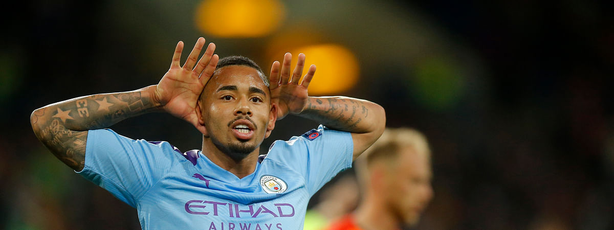 Manchester City's Gabriel Jesus celebrates after scoring his side's third goal during the Group C Champions League soccer match between Manchester City and FC Shakhtar Donetsk in Kharkiv, Ukraine, Wednesday, Sept. 18, 2019. (AP Photo/Efrem Lukatsky)