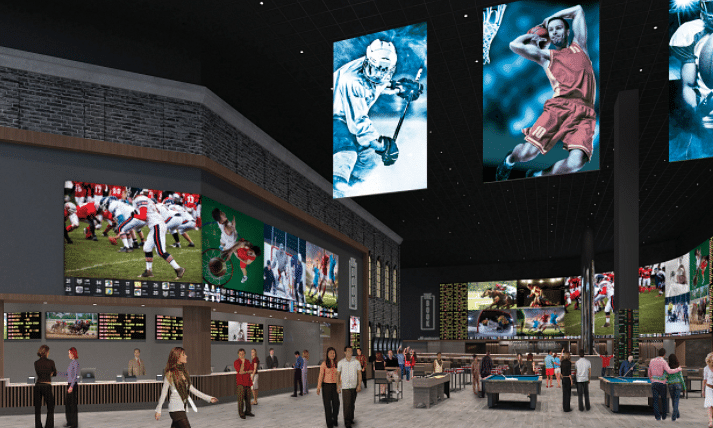 An artist's rendering of Bally's sports book, The Book.