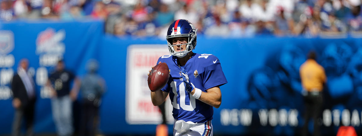 New York Giants quarterback Eli Manning looks to pass while under pressure during the second half of an NFL football game against the Buffalo Bills, Sunday, Sept. 15, 2019, in East Rutherford, N.J.
