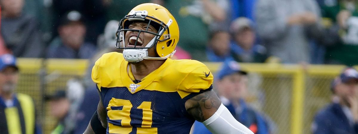 Green Bay Packers outside linebacker Preston Smith celebrates after the Denver Broncos turned over the ball on downs near the end of the second half of an NFL football game Sunday, Sept. 22, 2019, in Green Bay, Wis.