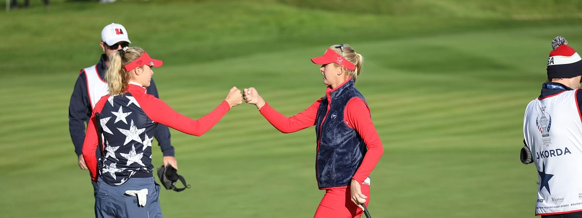 Sisters Nelly, left, and Jessica Korda of the US during their Foursomes match against Europe in the Solheim cup at Gleneagles, Auchterarder, Scotland, Friday, Sept. 13, 2019. The Solheim cup runs from 13-15 Sept. (AP Photo/Peter Morrison)