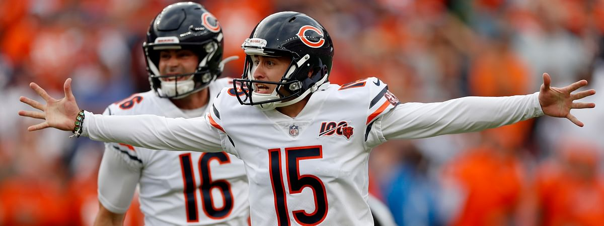 Chicago Bears kicker Eddy Pineiro (15) celebrates his game-winning field goal after an NFL football game against the Denver Broncos, Sunday, Sept. 15, 2019, in Denver. The Bears won 16-14.