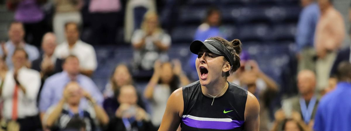 Bianca Andreescu, of Canada, reacts after defeating Belinda Bencic, of Switzerland, during the semifinals of the U.S. Open tennis championships Thursday, Sept. 5, 2019, in New York. (AP Photo/Charles Krupa)
