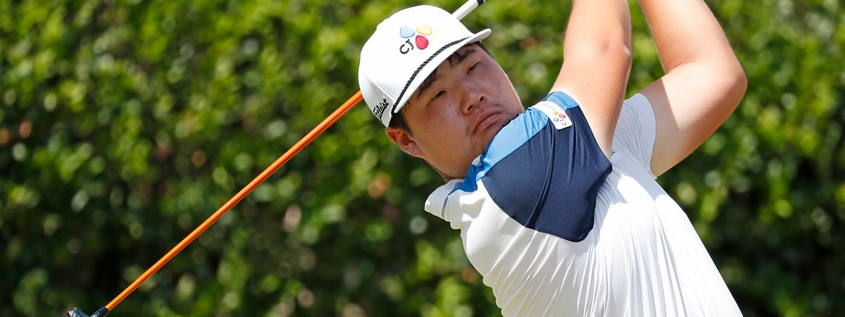Sungjae Im, of South Korea, watches his drive from the first tee during the final round of the Sanderson Farms Championship golf tournament in Jackson, Miss., Sunday, Sept. 22, 2019.