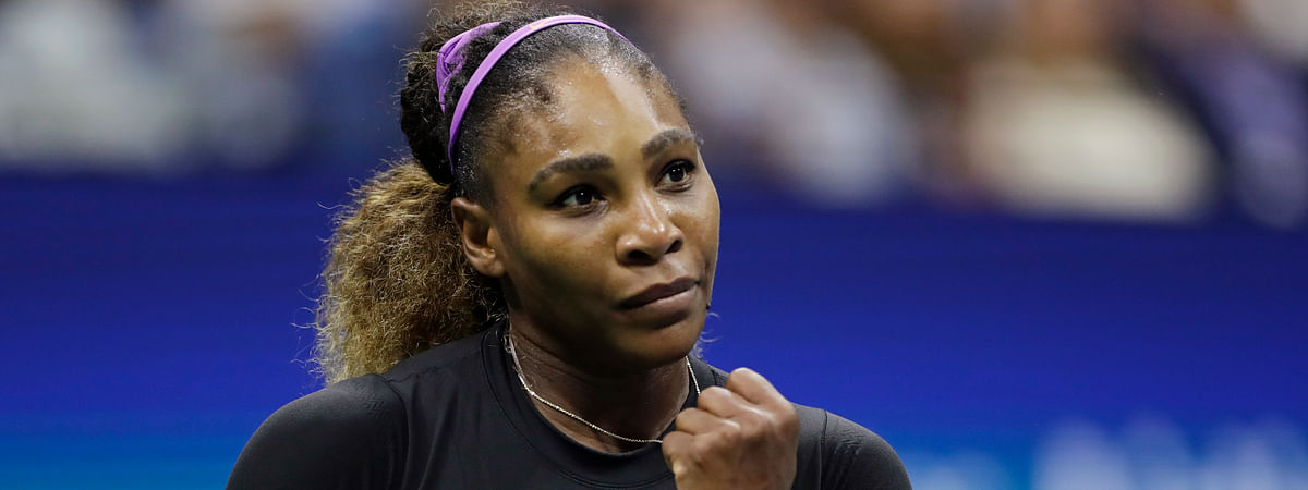 Serena Williams, of the United States, reacts after scoring a point against Elina Svitolina, of Ukraine, during the semifinals of the U.S. Open tennis championships Thursday, Sept. 5, 2019, in New York. (AP Photo/Adam Hunger)