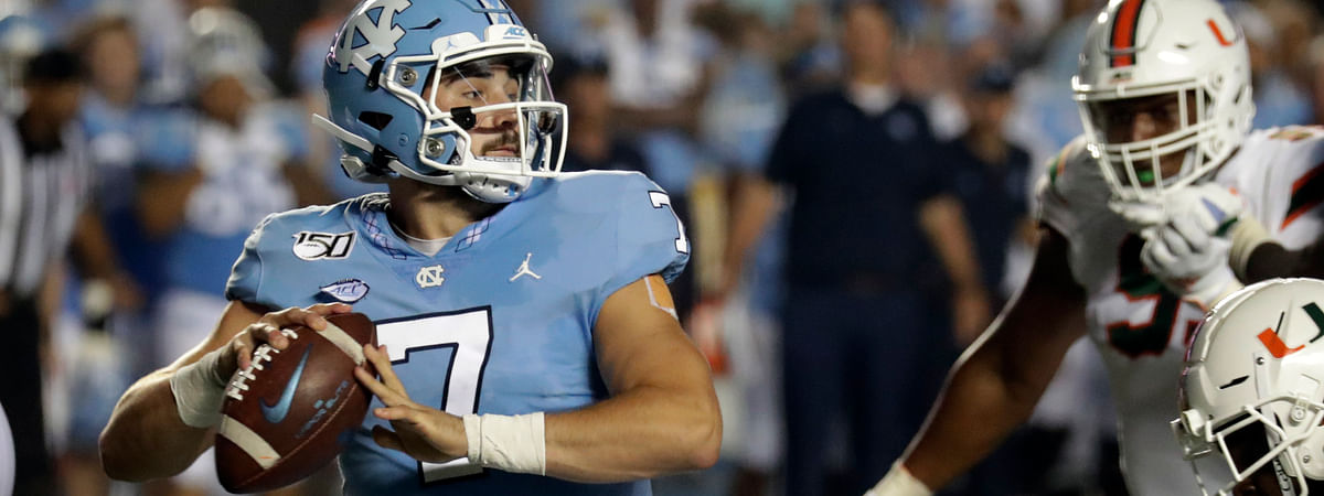 North Carolina's Sam Howell (7) looks to pass against Miami during the second quarter of an NCAA college football game in Chapel Hill, N.C., Saturday, Sept. 7, 2019.