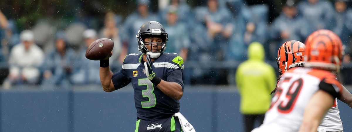 Seattle Seahawks quarterback Russell Wilson passes against the Cincinnati Bengals during the second half of an NFL football game Sunday, Sept. 8, 2019, in Seattle. (AP Photo/Stephen Brashear)