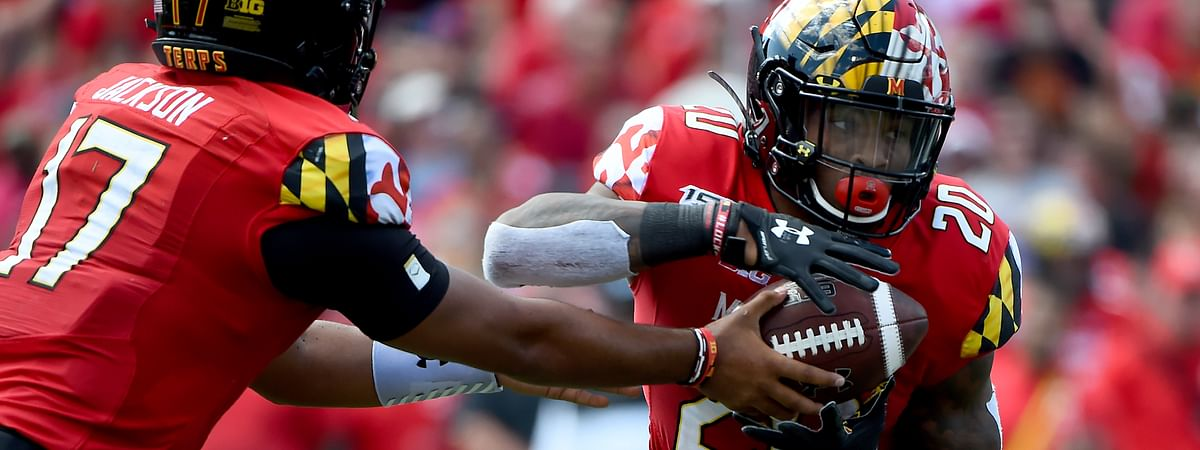 Maryland quarterback Josh Jackson (17) hands the ball off to running back Javon Leake (20) during the first half of an NCAA college football game against Syracuse, Saturday, Sept. 7, 2019, in College Park, Md.
