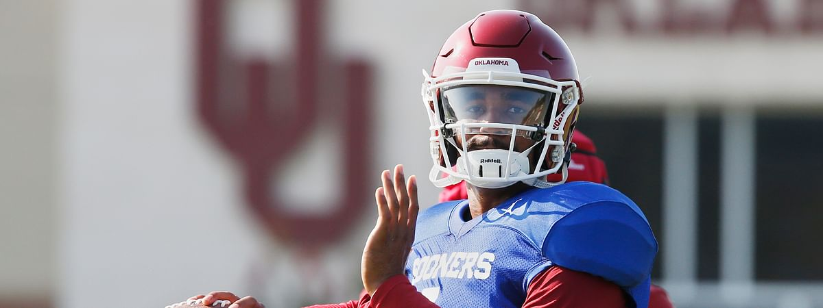 FILE - In this Aug. 5, 2019, file photo, Oklahoma quarterback Jalen Hurts throws during an NCAA college football practice in Norman, Okla. Houston plays at Oklahoma on Sunday, Sept. 1. (AP Photo/Sue Ogrocki, File)