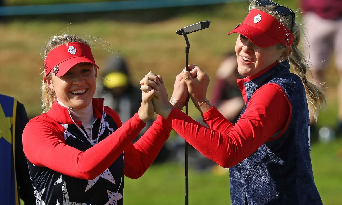 Sisters Nelly, left, and Jessica Korda of the US celebrate on the 14th after winning their Foursomes match 6 up against Solheim cup at Gleneagles, Auchterarder, Scotland, Friday, Sept. 13, 2019. The Solheim cup runs from 13-15 Sept.