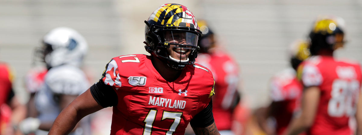 Maryland quarterback Josh Jackson reacts after throwing a touchdown pass to Tyler Mabry against Howard on Aug. 31 (Julio Cortez)