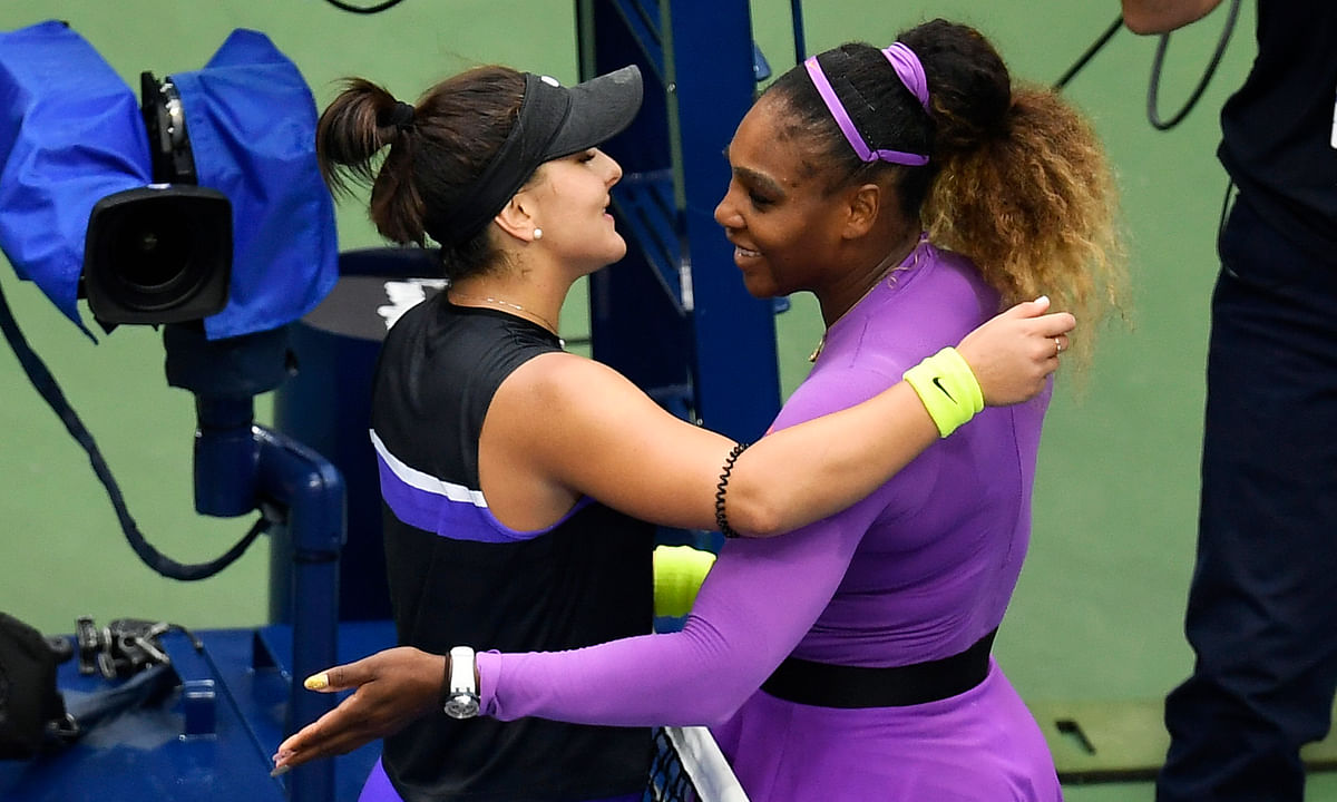 Serena Williams, of the United States, right, congratulates Bianca Andreescu, of Canada, after Andreescu won the women's singles final of the U.S. Open tennis championships Saturday, Sept. 7, 2019, in New York. (AP Photo/Sarah Stier)