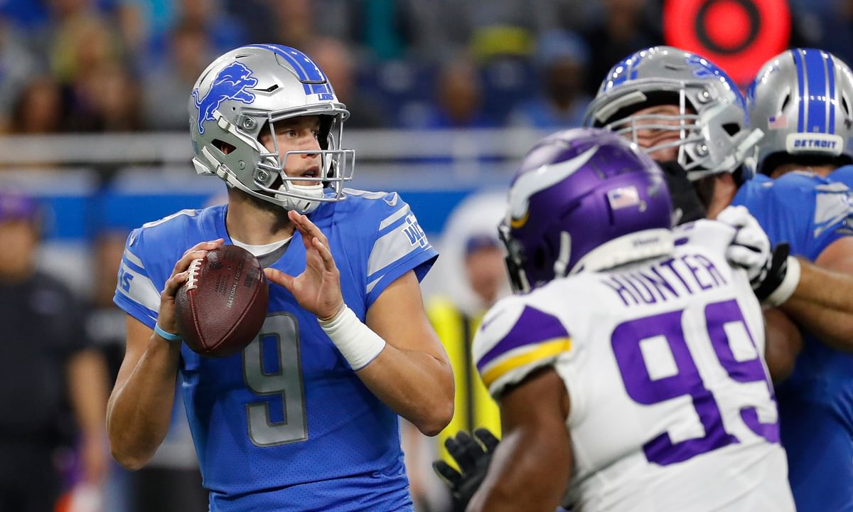 Detroit Lions quarterback Matthew Stafford looks to pass during the first half of an NFL football game against the Minnesota Vikings, Sunday, Oct. 20, 2019, in Detroit. (AP Photo/Rick Osentoski)