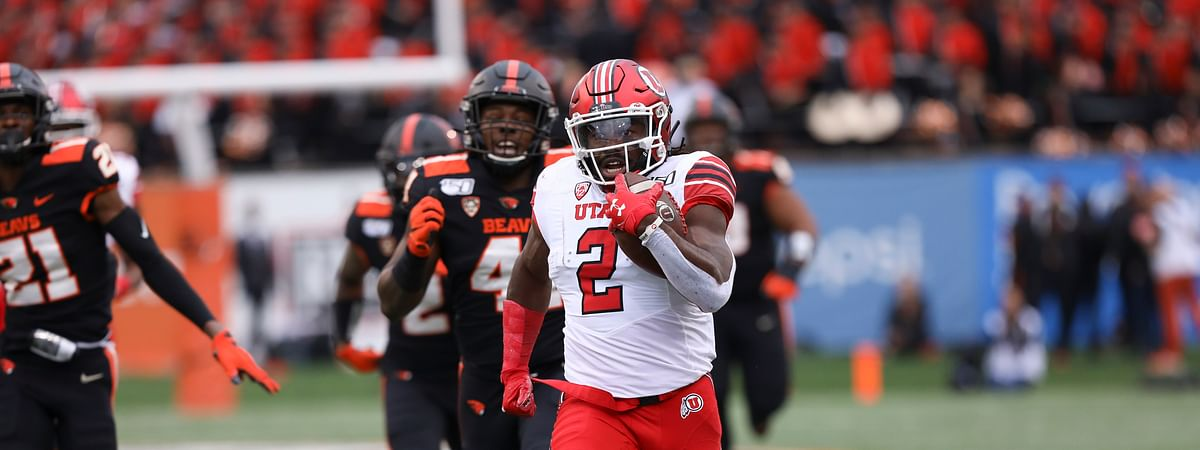 Utah running back Zack Moss (2) runs for a 91-yard touchdown during the first half of the team's NCAA college football game against Oregon State in Corvallis, Oregon, Saturday, Oct. 12, 2019.