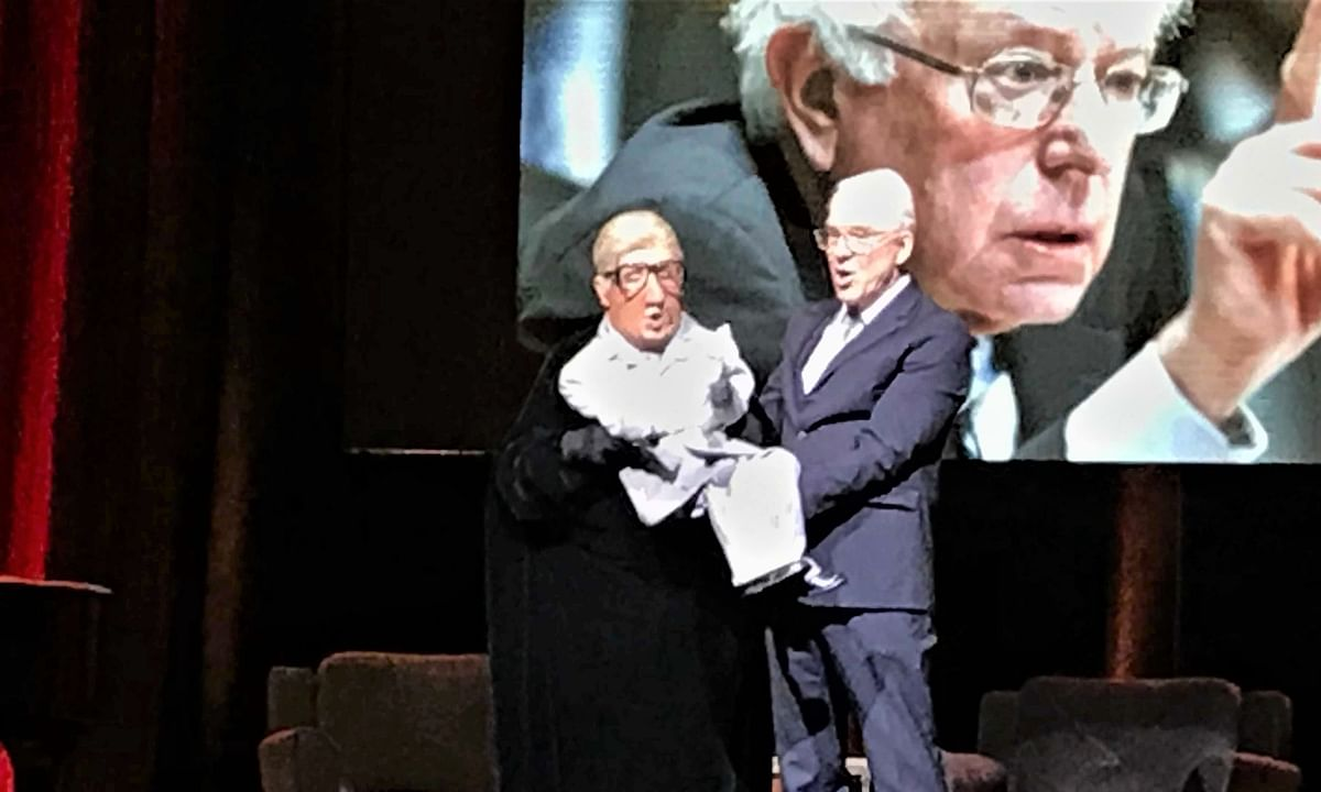 Martin Short (left) portrays a ventriloquist's-dummy version of his Jiminy Glick character and Steve Martin plays the ventriloquist during the pair's Saturday night performance at Borgata.