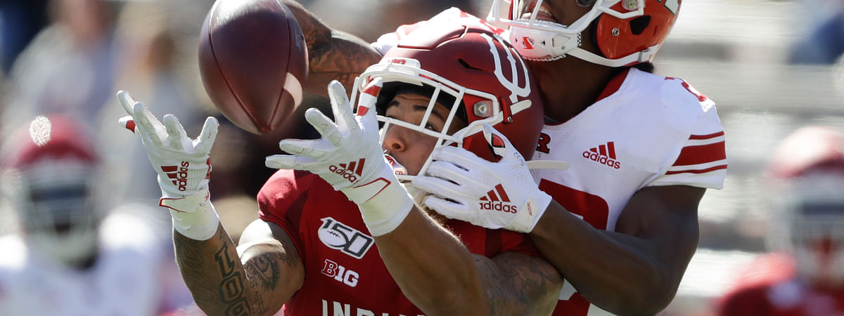 Indiana wide receiver Ty Fryfogle (3) is defended by Rutgers defensive back Damon Hayes (22) during the second half of an NCAA college football game, Saturday, Oct. 12, 2019, in Bloomington, Ind. Indiana won 35-0. The pass was incomplete.