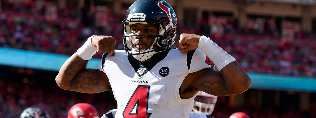 Houston Texans quarterback Deshaun Watson (4) celebrates his touchdown against the Kansas City Chiefs during the second half of an NFL football game in Kansas City, Mo., Sunday, Oct. 13, 2019.