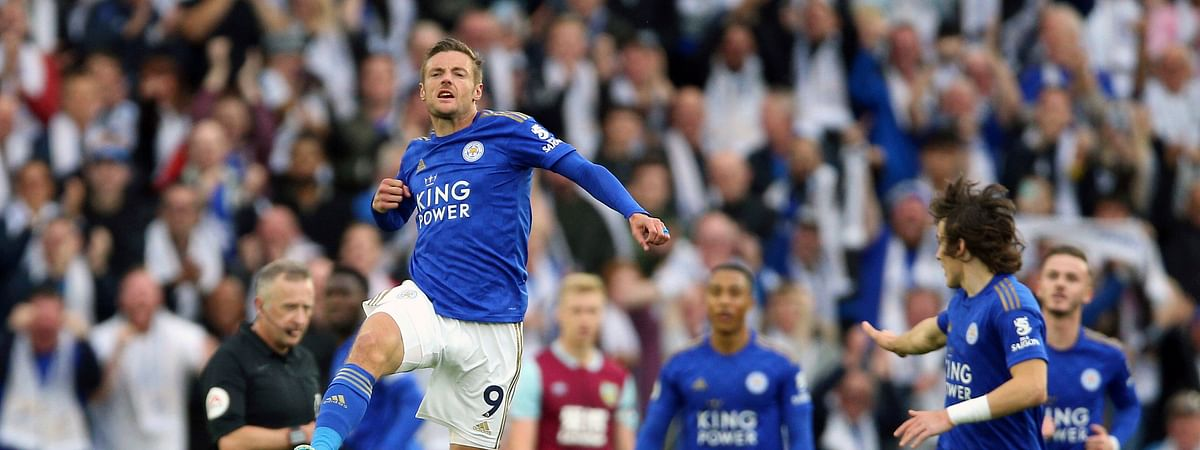 Leicester City's Jamie Vardy celebrates scoring his side's first goal of the game against Burnley, during their English Premier League soccer match at the King Power Stadium in Leicester, England, Saturday Oct. 19, 2019.