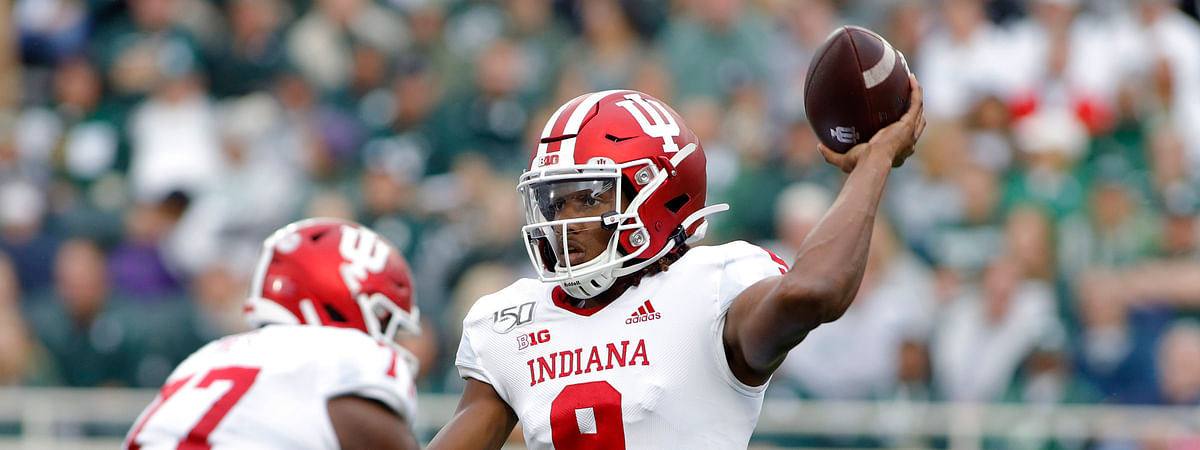 Indiana quarterback Michael Penix (9) throws a pass against Michigan State during the first quarter of an NCAA college football game, Saturday, Sept. 28, 2019, in East Lansing, Mich. (AP Photo/Al Goldis)