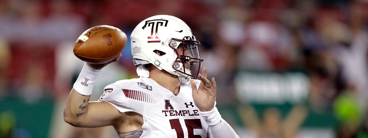 Temple quarterback Anthony Russo throws a pass against South Florida during the first half of an NCAA college football game Thursday, Nov. 7, 2019, in Tampa, Fla. (AP Photo/Chris O'Meara)