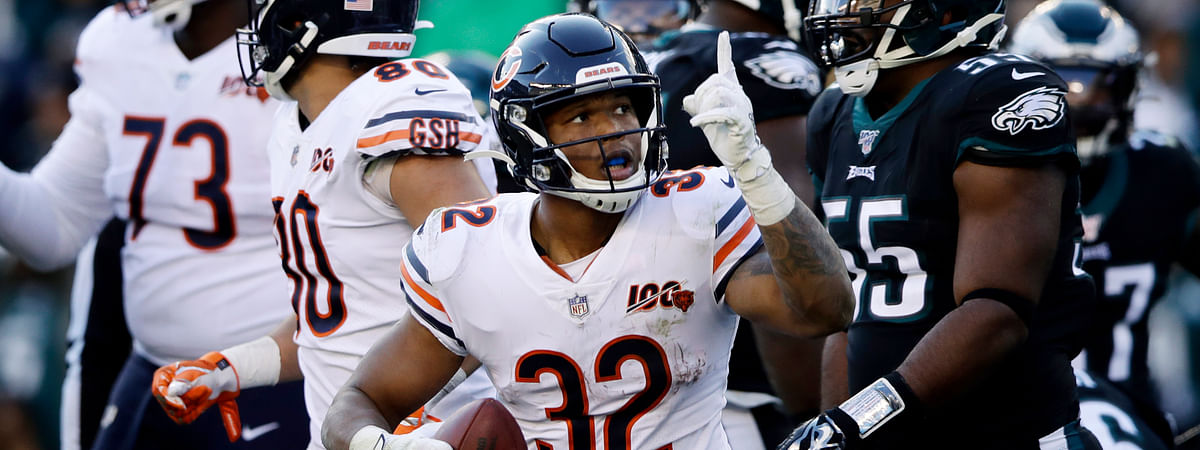 Chicago Bears' David Montgomery celebrates after scoring a touchdown during the second half of an NFL football game against the Philadelphia Eagles, Sunday, Nov. 3, 2019, in Philadelphia.