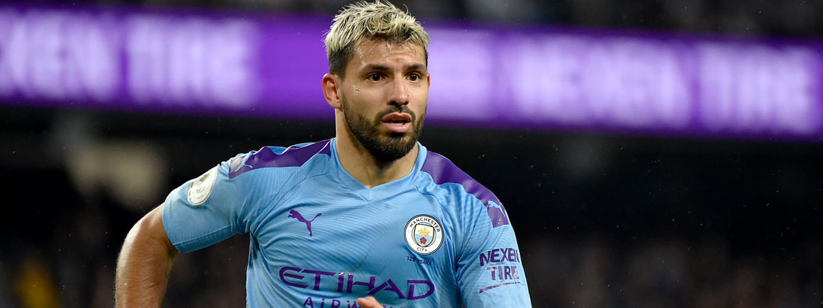 Manchester City's Sergio Aguero runs during the English Premier League soccer match between Manchester City and Chelsea at Etihad stadium in Manchester, England, Saturday, Nov. 23, 2019.