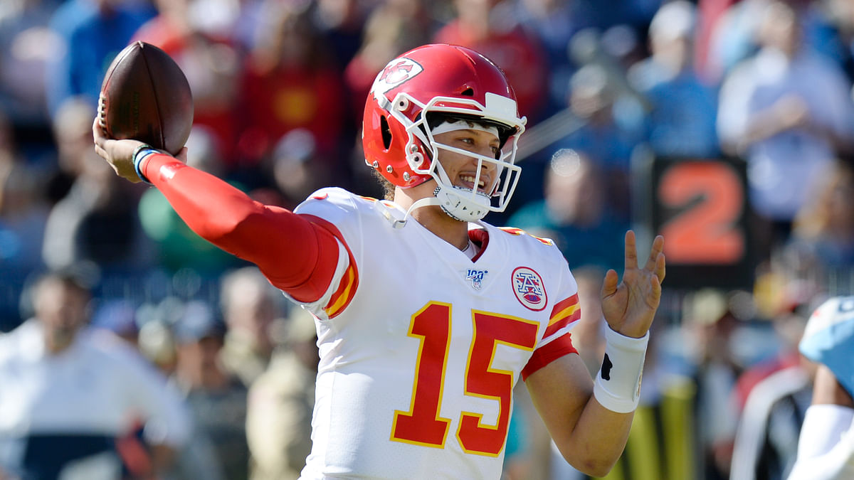 Kansas City Chiefs quarterback Patrick Mahomes passes against the Tennessee Titans in the first half of an NFL football game Sunday, Nov. 10, 2019, in Nashville, Tenn.