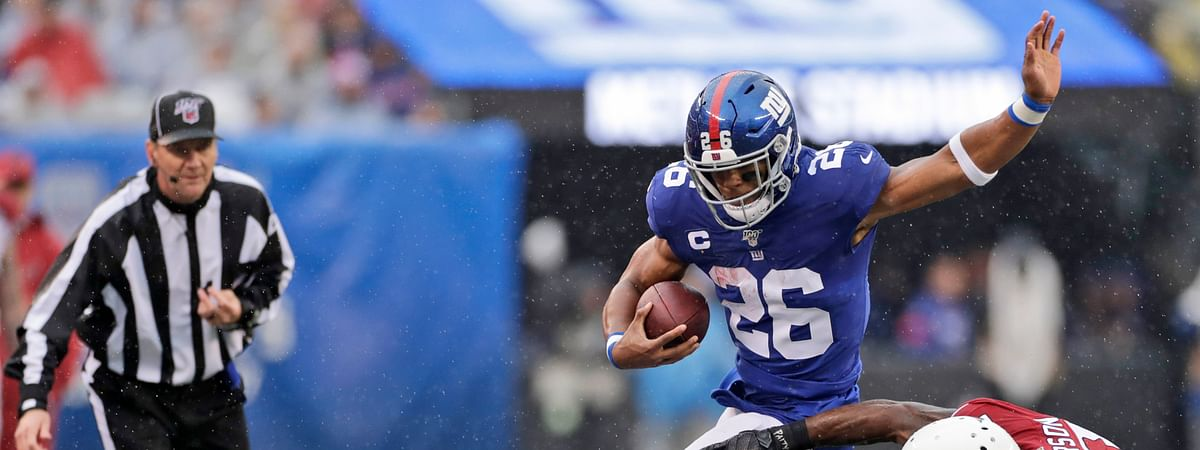New York Giants' Saquon Barkley is looking for a big against the New York Jets in East Rutherford, N.J. (AP Photo/Adam Hunger)